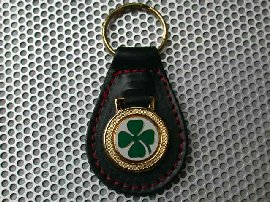 Alfa Romeo (Quadrifoglio) Leather Keyring (Red stech)