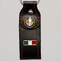 Alfa Romeo Leather Keyring (Italian Flag Mascot)
