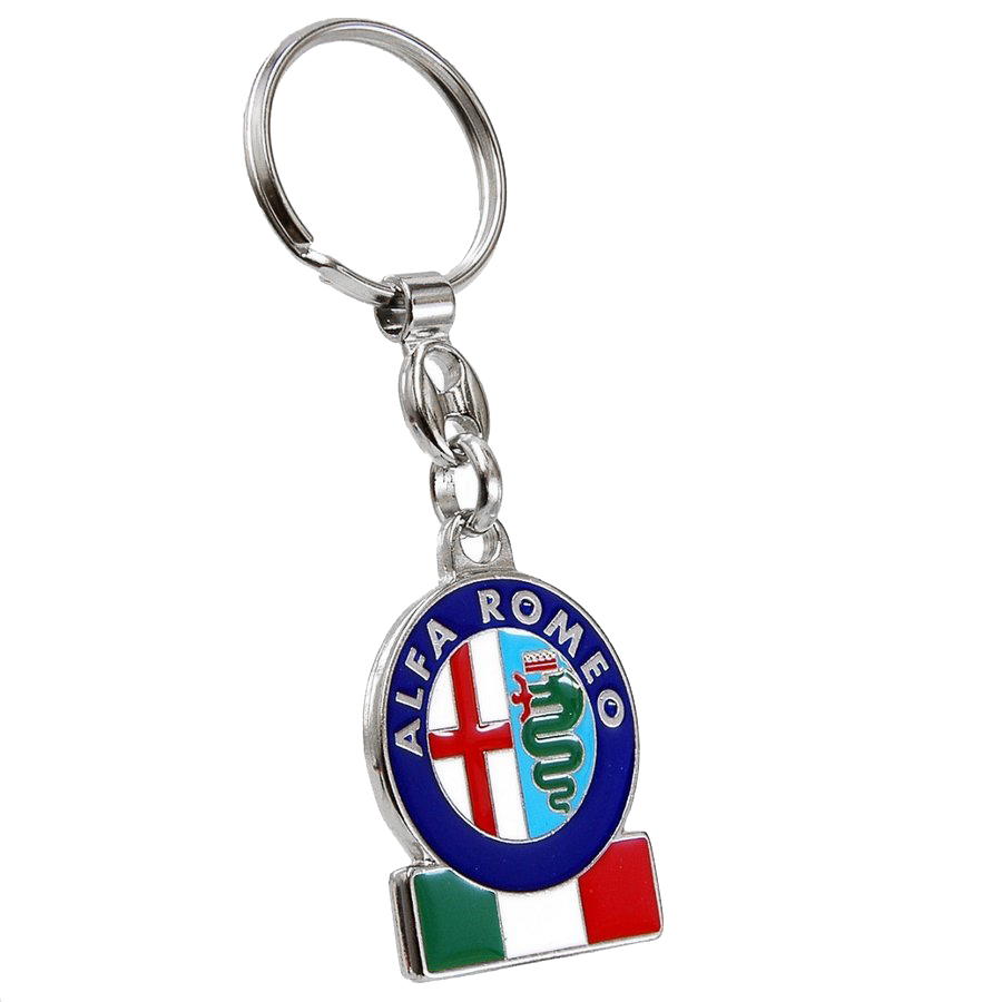 Alfa Romeo Emblem &amp; Italian Flag Metal Keyring (Cuore Sportivo)<br><font size=-1 color=red>12/25到着</font>