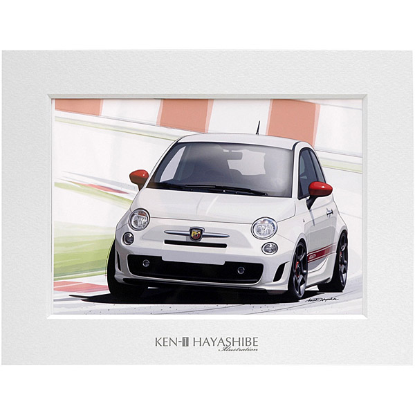 NEW FIAT 500 ABARTH (White) Illustration by Kenichi Hayashibe