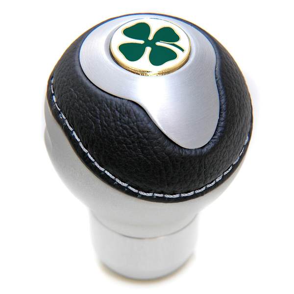 Black Akuminium &amp; Leather Gear Knob -TUNE IT-(Normal/Quadrifoglio Emblem)<br><font size=-1 color=red>09/20到着</font>