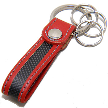 Alfa Romeo Carbon & Leather Strap Keyring(Red)