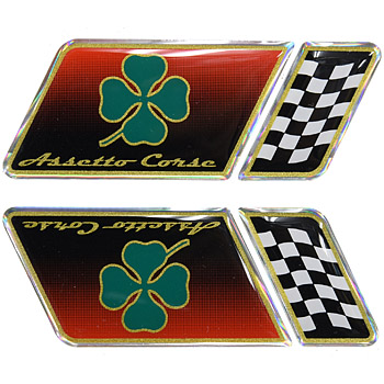 Alfa Romeo 3D Sticker (QUADRIFOGLIO+Checkered flag/Set of 4)