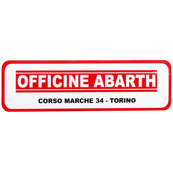 OFFICINE ABARTHディーラーステッカー(裏貼りタイプ)<br><font size=-1 color=red>11/19到着</font>