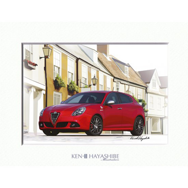 Alfa Romeo Giulietta(Red) Illustration by Kenichi Hayashibe