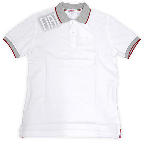 FIAT Spray Logo Polo Shirts (White/for Men)<br><font size=-1 color=red>08/30到着</font>