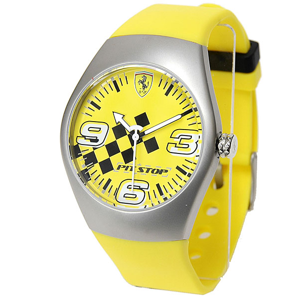 Ferrari Wrist Watch -PIT STOP- (Checkerd Flag/Yellow)