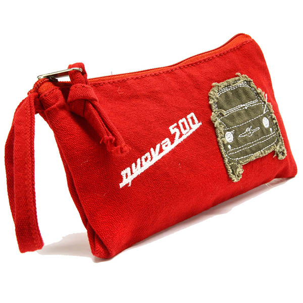 FIAT 500 Canvas Mini Pouch(Red)