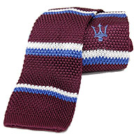 MASERATI Silk Knitted Tie(Bordeaux/Stripe)