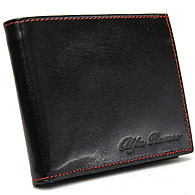 Alfa Romeo Leather Wallet(Black/Red Steach)