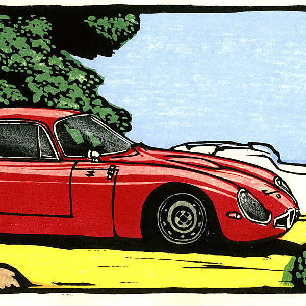 Alfa Romeo TZ1 Woodcut with Frame by Otomaru Hanga