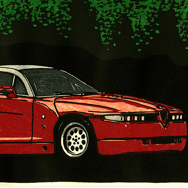 Alfa Romeo SZ(ES30) Woodcut with Frame by Otomaru Hanga