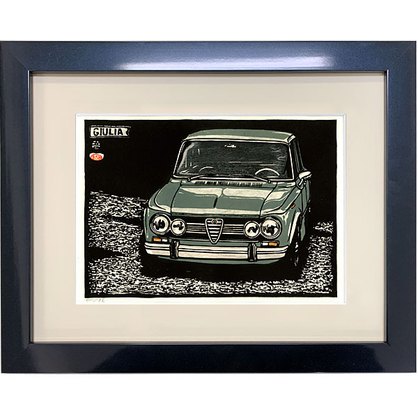Alfa Romeo Giulia Woodcut with frame by Otomaru Hanga