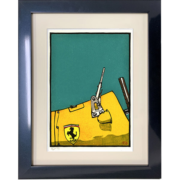 ferrari 500F woodcut with frame by Otomaru Hannga
