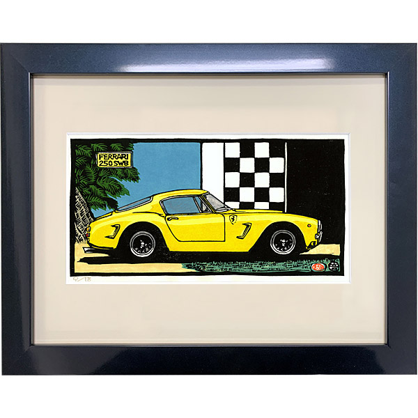 Ferrari 250 SWB woodcut with Frame by Otomaru Hanga