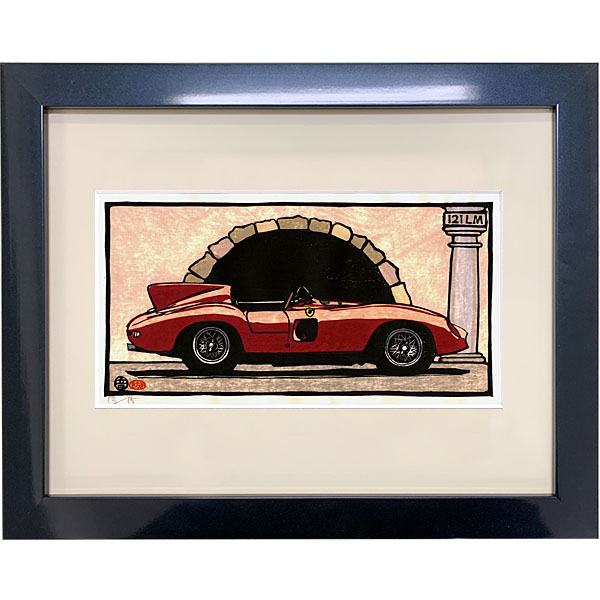 Ferrari 212 Le Mans woodcut with Frame by Otomaru Hanga
