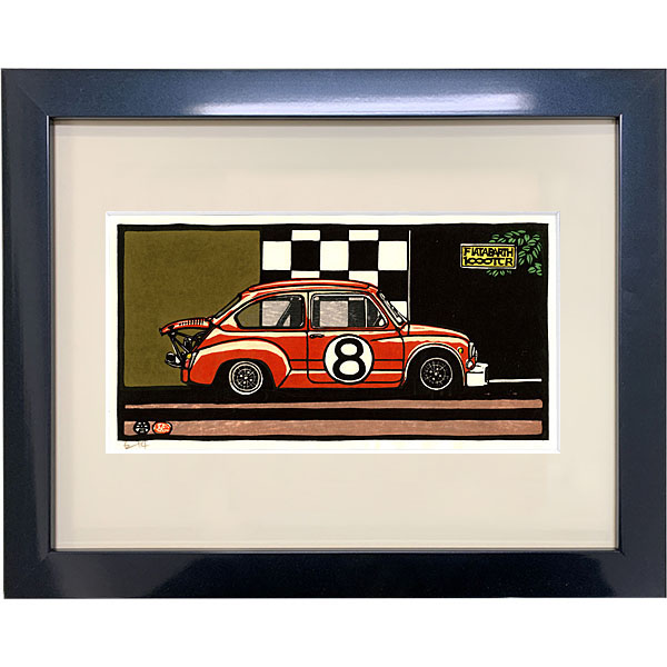 ABARTH 1000 TCR woodcut with frame by Otomaru Hanga