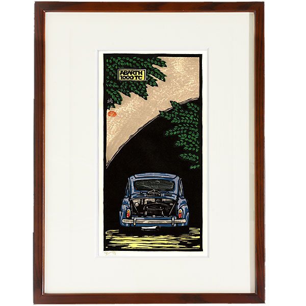 ABARTH 1000TC woodcut with frame by Otomaru Hanga