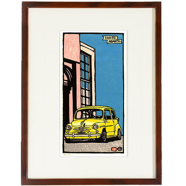 ABARTH 1000TC (Front) woodcut with frame by Otomaru Hanga