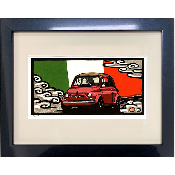 ABARTH 695 woodcut with Frame by Otomaru Hanga