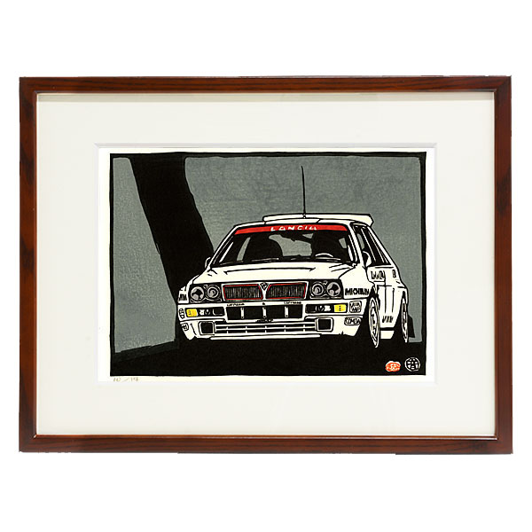 LANCIA Delta Evo woodcut with frame by Otomaru Hanga