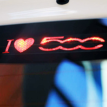 FIAT 500 Brake Lamp Sticker I LOVE 500(Die Cut)