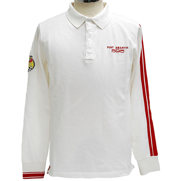 ABARTH 595 50th ANNIVERSARY Polo Shirts(Long Sleeves/White)
