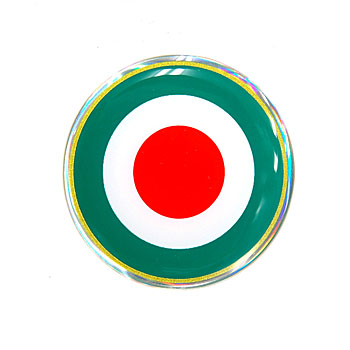 Italian Flag Round Shaped 3D Sticker(48mm)