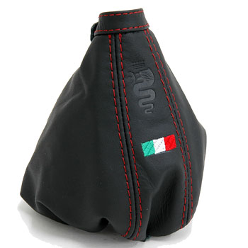 Alfa Romeo 159 Leather Hand Brake Boots(Black/Snake Stamped/Italian Flag)