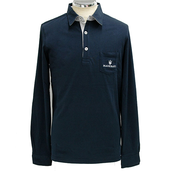 MASERATI Polo Shirts(Long Sleeves/Blue)