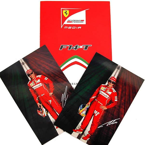 Scuderia Ferrari F14-T Press Leaflet & Drivers Card Set