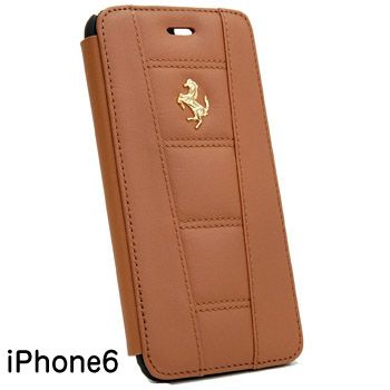 Ferrari iPhone6/6s Leather book type case-Brown-(458 ITALIA)