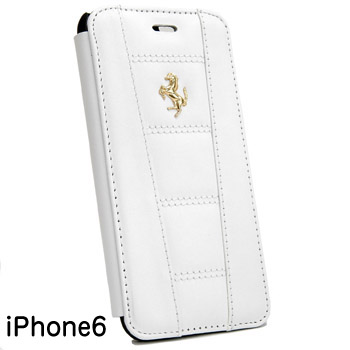 Ferrari iPhone6/6s Leather book type case-white-(458 ITALIA)