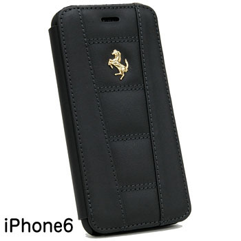 Ferrari iPhone6/6s Leather book type case-Black-(458 ITALIA)