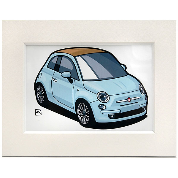 FIAT 500 Small Illustration(Sky Blue) by Kenichi Hayashibe