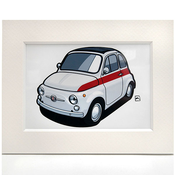 FIAT Old 500 Illustration(Red Stripe) by Kenichi Hayashibe