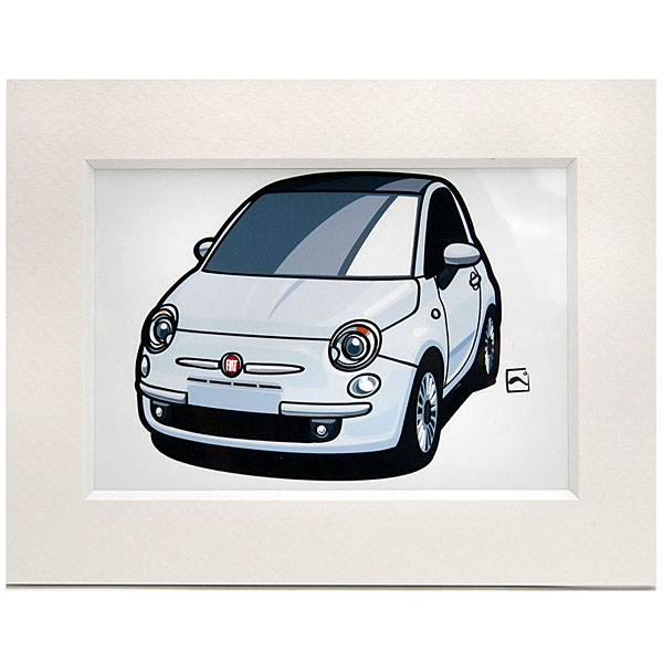 FIAT 500スモールイラストレーション(ホワイト) by 林部研一<br><font size=-1 color=red>09/21到着</font>