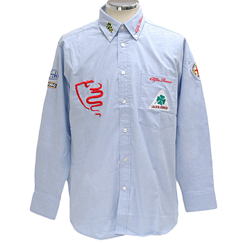 Alfa Romeo Button Down Shirts-ALFA CORSE/Blue-