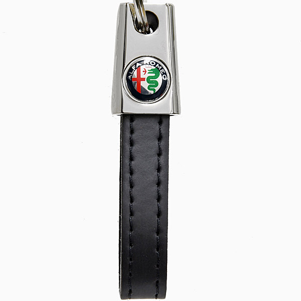 Alfa Romeo Strap Shaped Keyring(New Color Emblem/Black)