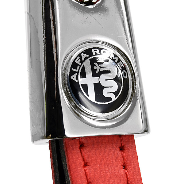 Alfa Romeo Strap Shaped Keyring(New Monotone Emblem/Red)