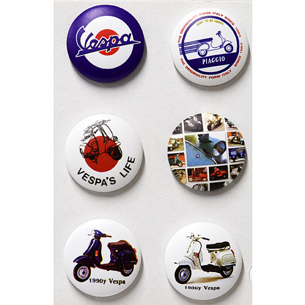 Vespa Button Badge Set A