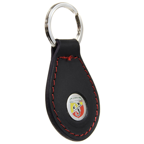 ABARTH New Emblem Leather Base Keyring(Black)