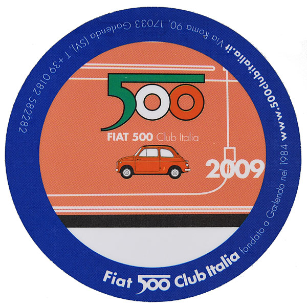 FIAT 500 CLUB ITALIA 2009 Sticker(Reverse Type)