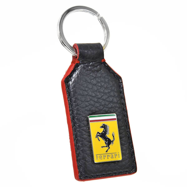 Ferrari Emblem Shaped Leather Keyring(Black)