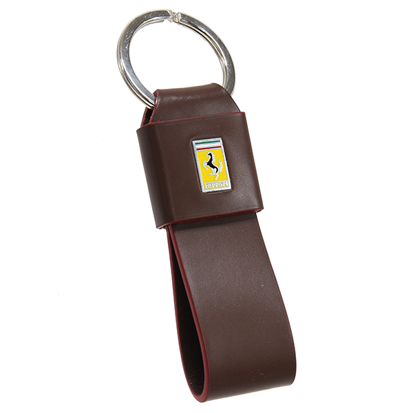 Ferrari Emblem Leather Strap Shaped Keyring(Red)