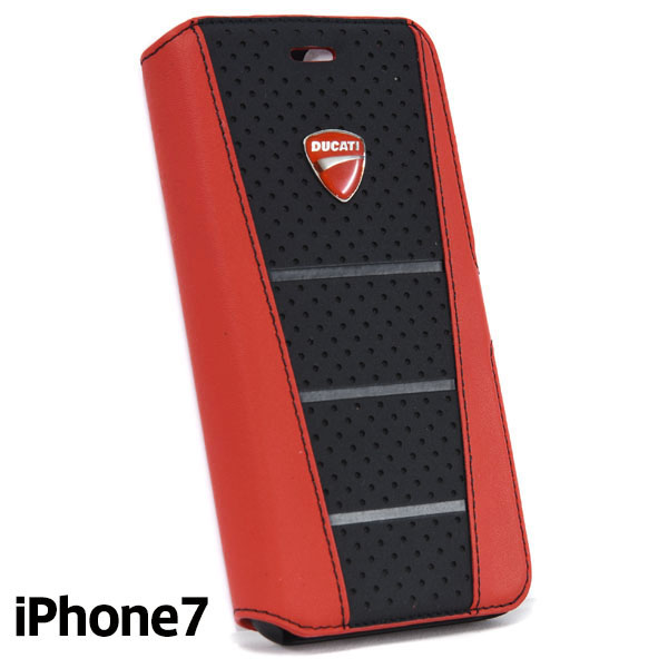 DUCATI iPhone7/6/6s Book Type Leather Case(Black/Red)