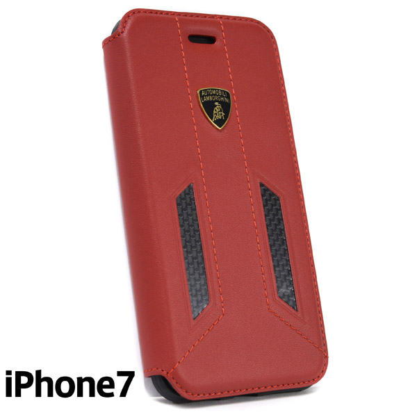 Lamborghini iPhone7 Book Shaped Leather Case(Red/Carbon)