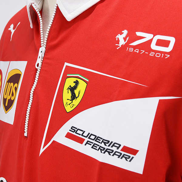 Scuderia Ferrari 2017 Team Zip- Up Polo with Ferrari 70th Logo