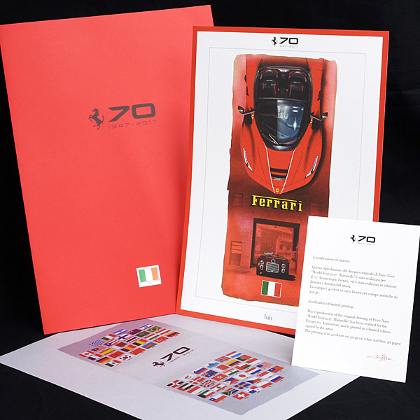 FERRARI HOLDS 70TH ANNIVERSARY CELEBRATIONS Guest Lithograph by Enzo Naso