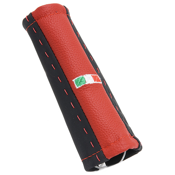 ABARTH/FIAT 500/595 Leather Hand Brake Grip Cover -SMOKING-(Black &amp; Red)<br><font size=-1 color=red>02/21到着</font>